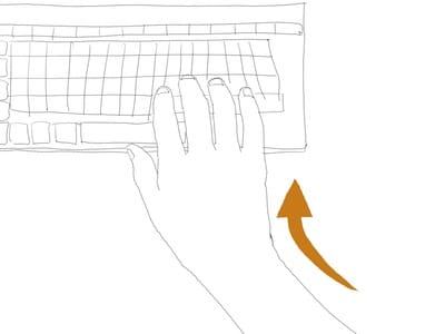 普通のキーボードの手の位置(上から)