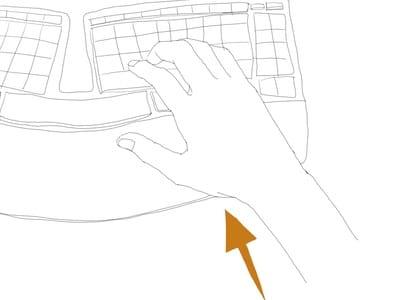 人間工学キーボードの手の位置(上から)