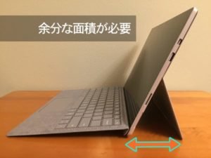 Surface Proのキックスタンド占有面積